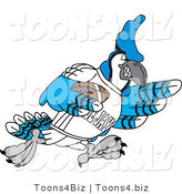 Vector Illustration of a Cartoon Blue Jay Mascot Playing American Football by Toons4Biz