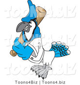 Vector Illustration of a Cartoon Blue Jay Mascot Playing Baseball by Toons4Biz