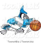 Vector Illustration of a Cartoon Blue Jay Mascot Playing Basketball by Toons4Biz