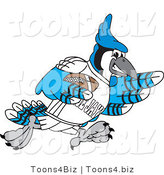 Vector Illustration of a Cartoon Blue Jay Mascot Playing Football by Toons4Biz