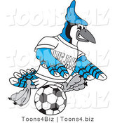 Vector Illustration of a Cartoon Blue Jay Mascot Playing Soccer by Toons4Biz