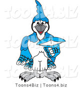 Vector Illustration of a Cartoon Blue Jay Mascot Pointing Outwards by Toons4Biz