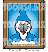 Vector Illustration of a Cartoon Blue Jay Mascot Portrait by Toons4Biz