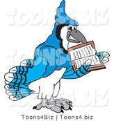 Vector Illustration of a Cartoon Blue Jay Mascot Reading by Toons4Biz