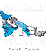 Vector Illustration of a Cartoon Blue Jay Mascot Reclined by Toons4Biz