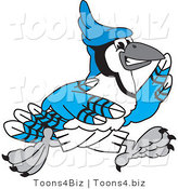 Vector Illustration of a Cartoon Blue Jay Mascot Running by Toons4Biz