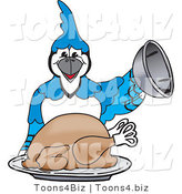 Vector Illustration of a Cartoon Blue Jay Mascot Serving a Thanksgiving Turkey by Toons4Biz