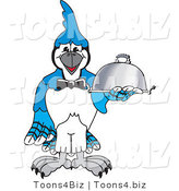 Vector Illustration of a Cartoon Blue Jay Mascot Serving Food by Toons4Biz