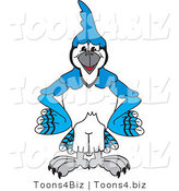 Vector Illustration of a Cartoon Blue Jay Mascot Standing with His Hands on His Hips by Toons4Biz