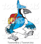 Vector Illustration of a Cartoon Blue Jay Mascot Walking to School by Toons4Biz