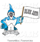 Vector Illustration of a Cartoon Blue Jay Mascot Waving a Banner by Toons4Biz