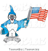 Vector Illustration of a Cartoon Blue Jay Mascot Waving an American Flag by Toons4Biz