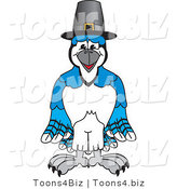 Vector Illustration of a Cartoon Blue Jay Mascot Wearing a Pilgrim Hat by Toons4Biz