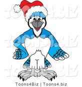 Vector Illustration of a Cartoon Blue Jay Mascot Wearing a Santa Hat by Toons4Biz