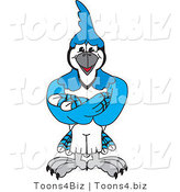 Vector Illustration of a Cartoon Blue Jay Mascot with His Arms Crossed by Toons4Biz