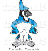Vector Illustration of a Cartoon Blue Jay Mascot with His Hands on His Hips by Toons4Biz