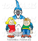 Vector Illustration of a Cartoon Blue Jay Mascot with Students by Toons4Biz