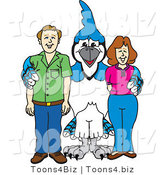 Vector Illustration of a Cartoon Blue Jay Mascot with Teachers or Parents by Toons4Biz