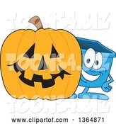 Vector Illustration of a Cartoon Blue Recycle Bin Mascot by a Halloween Jackolantern Pumpkin by Toons4Biz