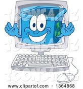 Vector Illustration of a Cartoon Blue Recycle Bin Mascot Emerging from a Desktop Computer Screen by Toons4Biz