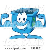 Vector Illustration of a Cartoon Blue Recycle Bin Mascot Flexing by Toons4Biz