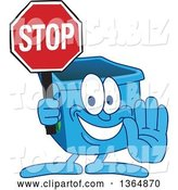 Vector Illustration of a Cartoon Blue Recycle Bin Mascot Gesturing and Holding a Stop Sign by Toons4Biz