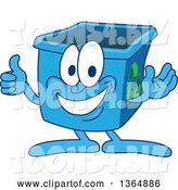 Vector Illustration of a Cartoon Blue Recycle Bin Mascot Giving a Thumb up by Toons4Biz
