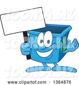 Vector Illustration of a Cartoon Blue Recycle Bin Mascot Holding a Blank Sign by Toons4Biz