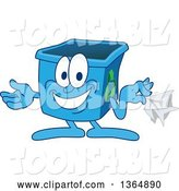 Vector Illustration of a Cartoon Blue Recycle Bin Mascot Holding a Napkin, Hankie, or Paper by Toons4Biz