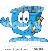 Vector Illustration of a Cartoon Blue Recycle Bin Mascot Holding a Pencil by Toons4Biz
