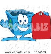Vector Illustration of a Cartoon Blue Recycle Bin Mascot Holding a Sales Tag by Toons4Biz