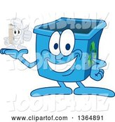 Vector Illustration of a Cartoon Blue Recycle Bin Mascot Holding a Tin Can by Toons4Biz
