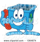 Vector Illustration of a Cartoon Blue Recycle Bin Mascot Holding and Pointing to a Telephone by Toons4Biz