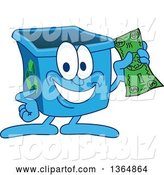 Vector Illustration of a Cartoon Blue Recycle Bin Mascot Holding Cash Money by Toons4Biz