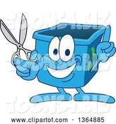 Vector Illustration of a Cartoon Blue Recycle Bin Mascot Holding up a Finger and Scissors by Toons4Biz