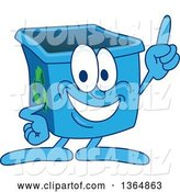 Vector Illustration of a Cartoon Blue Recycle Bin Mascot Holding up a Finger by Toons4Biz
