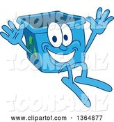 Vector Illustration of a Cartoon Blue Recycle Bin Mascot Jumping by Toons4Biz