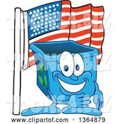 Vector Illustration of a Cartoon Blue Recycle Bin Mascot Pledging Allegiance to the American Flag by Toons4Biz