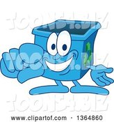 Vector Illustration of a Cartoon Blue Recycle Bin Mascot Pointing Outwards by Toons4Biz