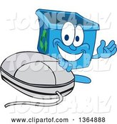 Vector Illustration of a Cartoon Blue Recycle Bin Mascot Presenting by a Computer Mouse by Toons4Biz