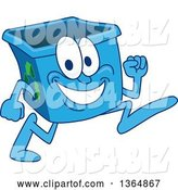 Vector Illustration of a Cartoon Blue Recycle Bin Mascot Running by Toons4Biz