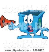 Vector Illustration of a Cartoon Blue Recycle Bin Mascot Screaming into a Megaphone by Toons4Biz
