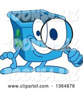 Vector Illustration of a Cartoon Blue Recycle Bin Mascot Searching with a Magnifying Glass by Toons4Biz