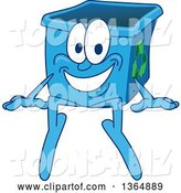 Vector Illustration of a Cartoon Blue Recycle Bin Mascot Sitting by Toons4Biz