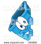 Vector Illustration of a Cartoon Blue Recycle Bin Mascot Smiling Around a Sign by Toons4Biz