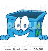 Vector Illustration of a Cartoon Blue Recycle Bin Mascot Smiling over a Sign by Toons4Biz