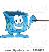 Vector Illustration of a Cartoon Blue Recycle Bin Mascot Using a Pointer Stick by Toons4Biz