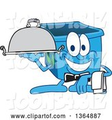 Vector Illustration of a Cartoon Blue Recycle Bin Mascot Waiter Holding a Cloche Platter by Toons4Biz