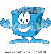 Vector Illustration of a Cartoon Blue Recycle Bin Mascot Welcoming by Toons4Biz