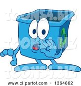 Vector Illustration of a Cartoon Blue Recycle Bin Mascot Whispering by Toons4Biz